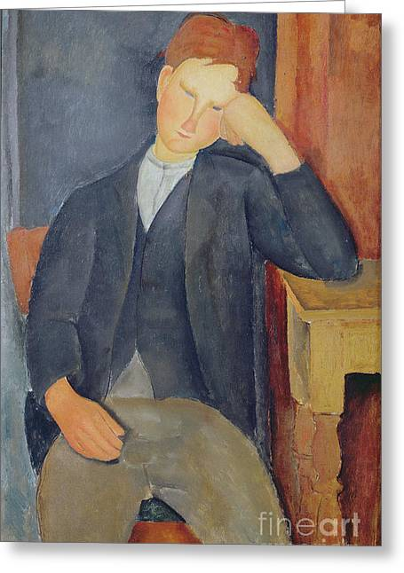 Modigliani; Amedeo (1884-1920) Greeting Cards - The young apprentice Greeting Card by Amedeo Modigliani