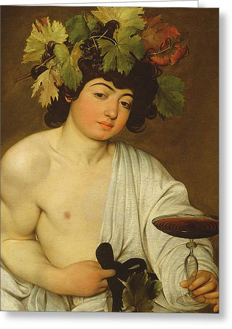 Grape Print Greeting Cards - The Young Bacchus Greeting Card by Caravaggio