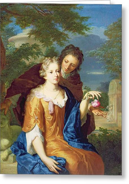 Dated Greeting Cards - The Young Lovers Greeting Card by Gerard Hoet