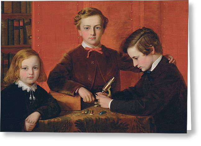 Educate Greeting Cards - The Young Microscopists Greeting Card by John Edgar Williams