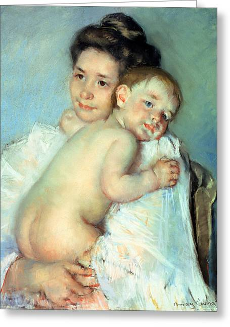 Caring Mother Paintings Greeting Cards - The Young Mother Greeting Card by Mary Stevenson Cassatt