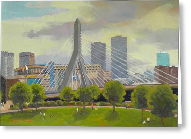 Dianne Panarelli Miller Greeting Cards - The Zakim Bridge Greeting Card by Dianne Panarelli Miller