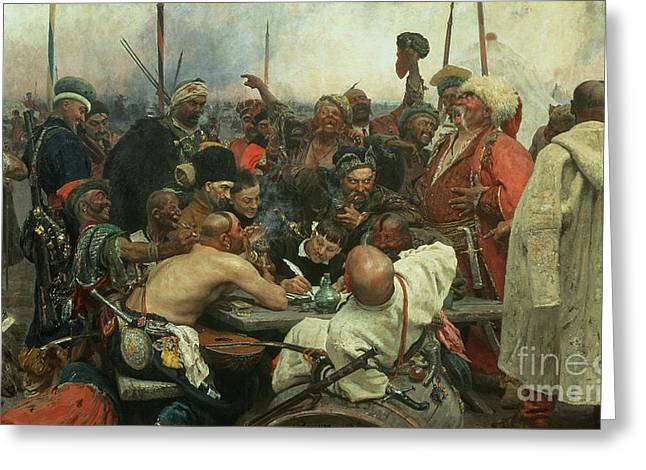 Sword Greeting Cards - The Zaporozhye Cossacks writing a letter to the Turkish Sultan Greeting Card by Ilya Efimovich Repin