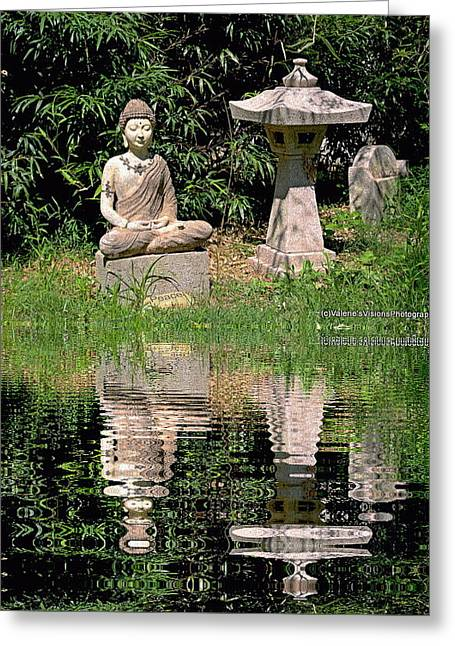 Garden Statuary Greeting Cards - The Zen garden. Greeting Card by Valerie Stein