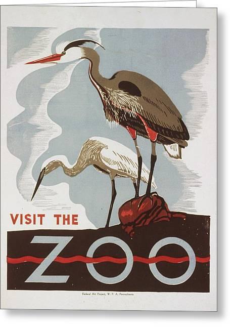 Wpa Prints Greeting Cards - The Zoo Greeting Card by David Lane