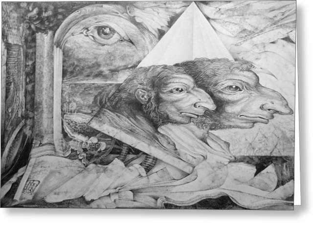 The Zwerg Nase Twins Dreaming Of World Domination Greeting Card by Otto Rapp