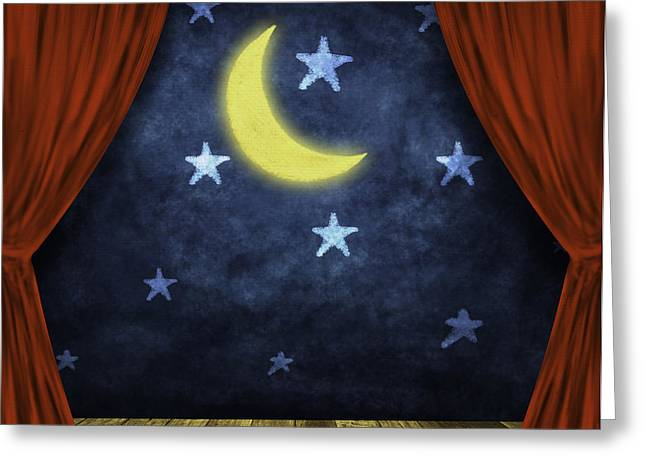 theater stage with red curtains and night background  Greeting Card by Setsiri Silapasuwanchai