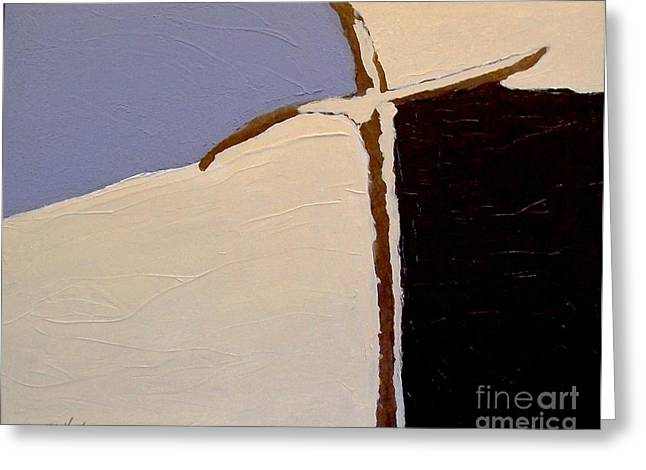 Dk Greeting Cards - Thee Cross Abstract lll Greeting Card by Marsha Heiken