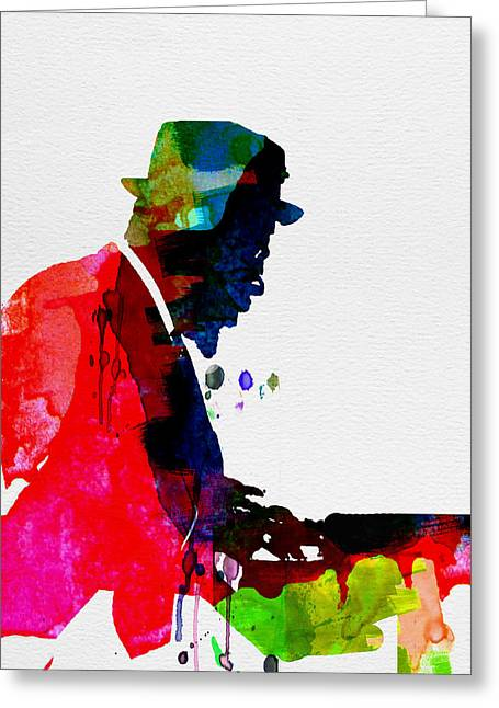Jazz Pianist Greeting Cards - Thelonious Watercolor Greeting Card by Naxart Studio