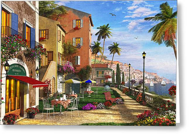 Italian Restaurant Digital Greeting Cards - Themed Terrace Greeting Card by Dominic Davison