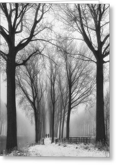 Fog Greeting Cards - Then Winter Comes Greeting Card by Yvette Depaepe