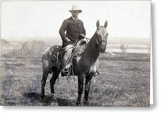 Famous People Photographs Greeting Cards - Theodore Roosevelt horseback - c 1903 Greeting Card by International  Images