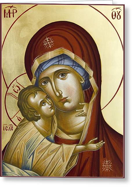 Icon Byzantine Paintings Greeting Cards - Theotokos Greeting Card by Julia Bridget Hayes