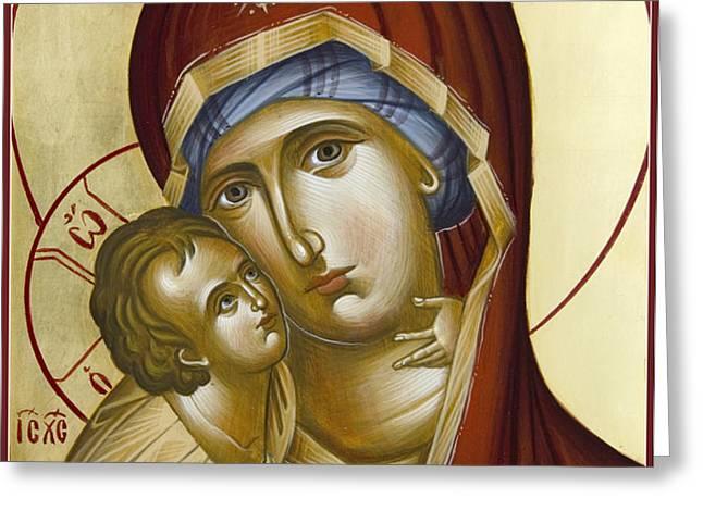 Theotokos Greeting Card by Julia Bridget Hayes