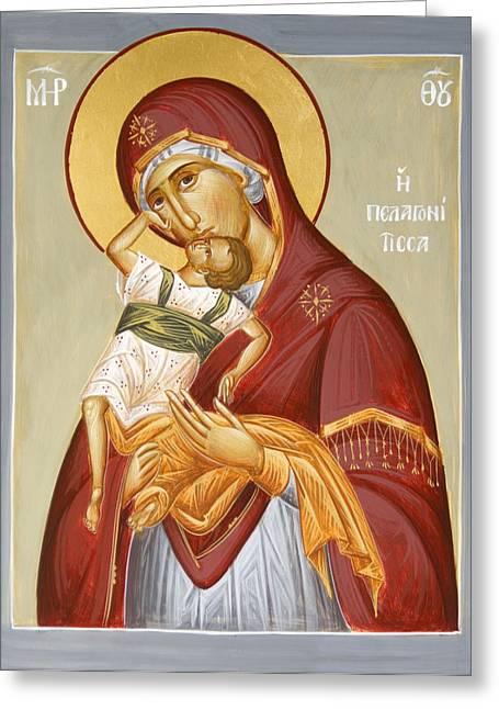 Jesus Christ Icon Paintings Greeting Cards - Theotokos Pelagonitisa Greeting Card by Julia Bridget Hayes