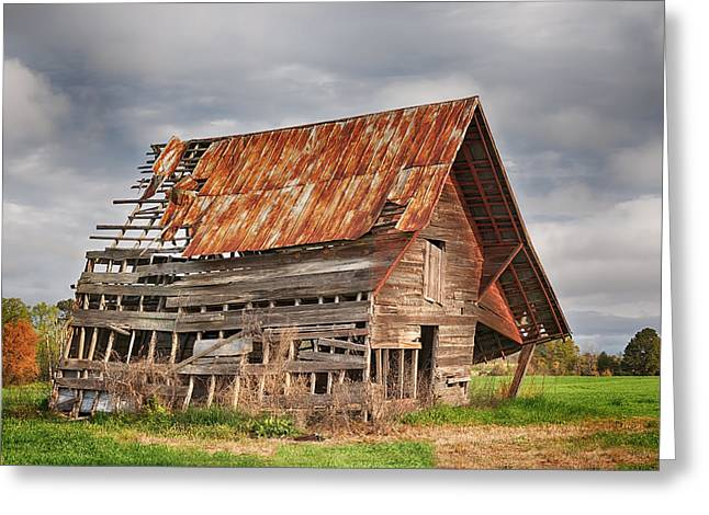 Hay Bales Greeting Cards - There Was A Crooked Barn Greeting Card by Kim Hojnacki
