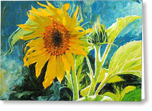 Yellow Sunflower Greeting Cards - Theres a New Bud in Town Greeting Card by Chris Steinken