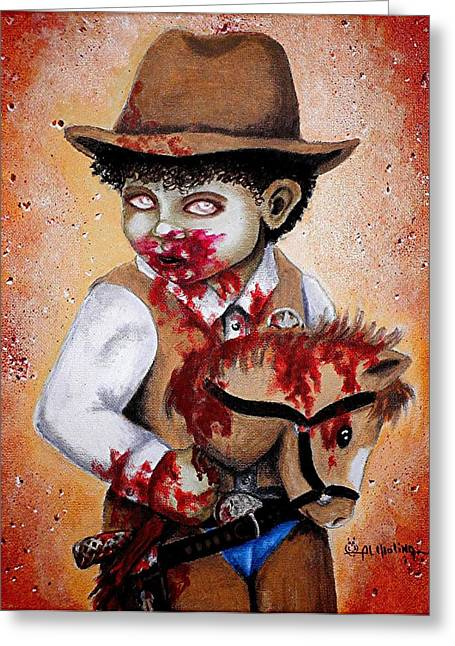 Little Boy Greeting Cards - Theres a new Sheriff in Town and He wants to eat your Brains Greeting Card by Al  Molina