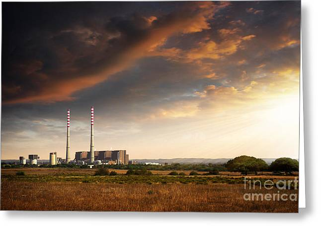 Polluting Greeting Cards - Thermoelectrical Plant Greeting Card by Carlos Caetano