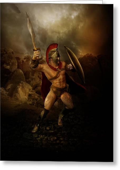 Spartan Greeting Cards - Thermopalyae Greeting Card by Karen K
