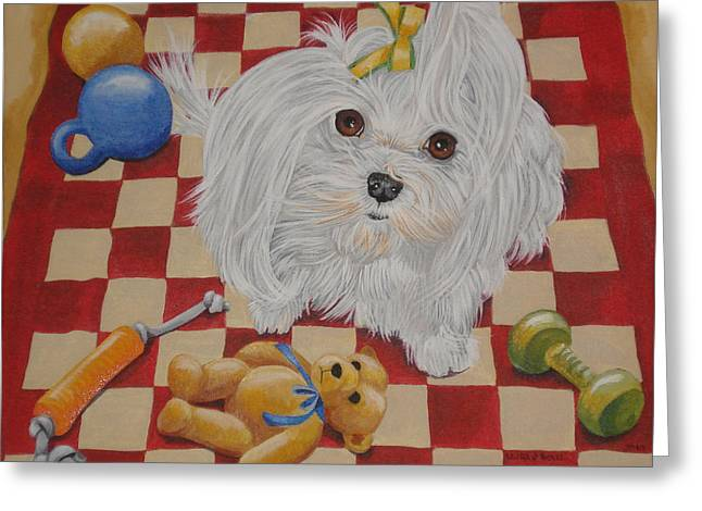 Toy Maltese Paintings Greeting Cards - These Are My Toys Greeting Card by Laura Bolle