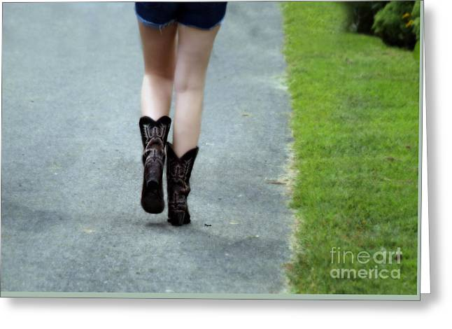 Cowgirl Boots Greeting Cards - These boots are made for walking Greeting Card by Steven  Digman