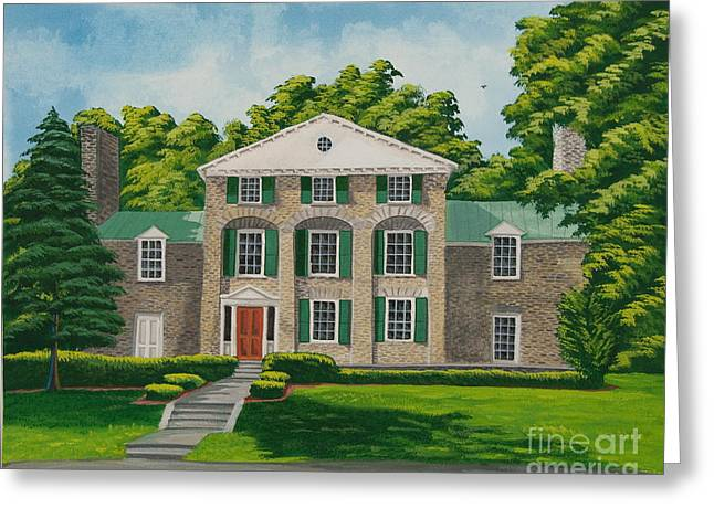 Upstate Paintings Greeting Cards - Theta Chi Greeting Card by Charlotte Blanchard