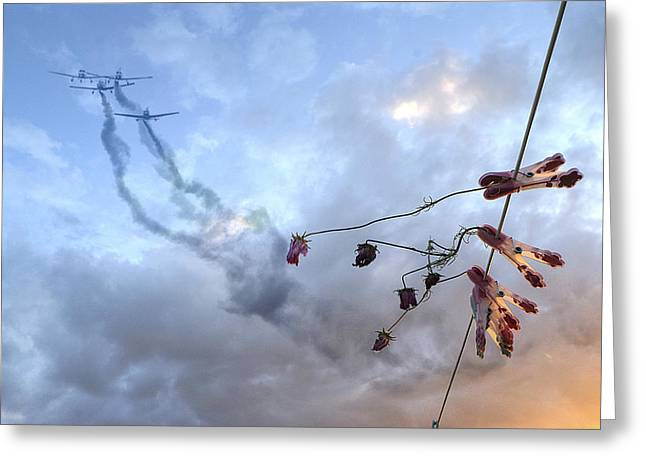 Washlines Greeting Cards - They Are Coming... Greeting Card by Genevieve Van Doren