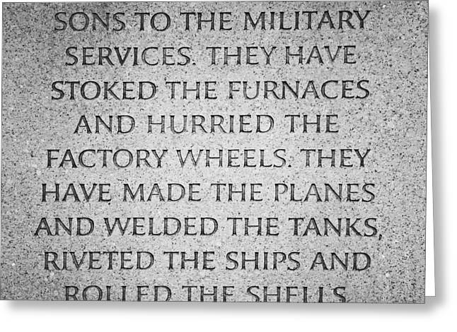 Franklin D. Greeting Cards - They Have Given Their Sons To The Military... - National World War II Memorial in Washington DC Greeting Card by Marianna Mills