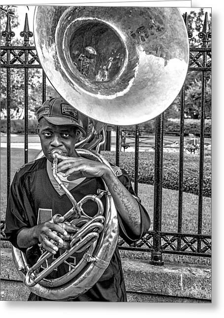 Portrait Greeting Cards - They Say Its The Sousaphone Players You Have To Look Out For... Greeting Card by Kirk Cypel