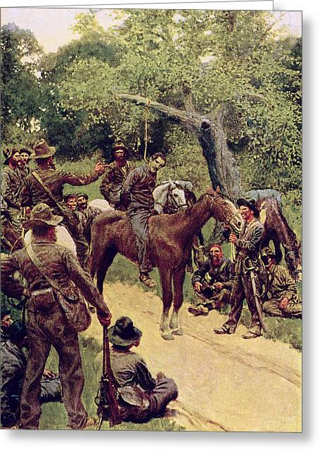 Marshall Greeting Cards - They Talked It Over With Me Sitting on the Horse Greeting Card by Howard Pyle