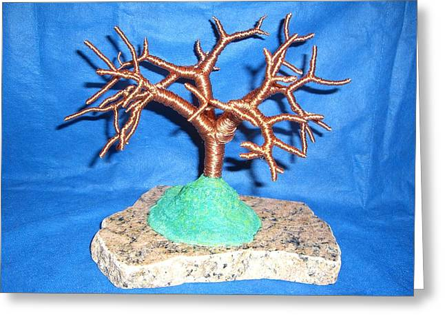 Thick 24 Gauge Copper Wire Tree On Brown And Black Marble Or Granite Slab Greeting Card by Serendipity Pastiche