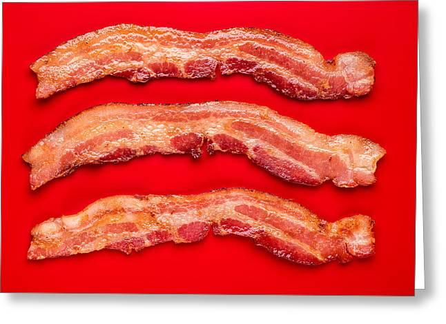 Thick Cut Bacon Greeting Card by Steve Gadomski