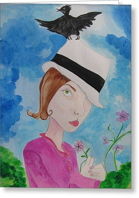 Omens Greeting Cards - Thief of Hats Greeting Card by Lindie Racz