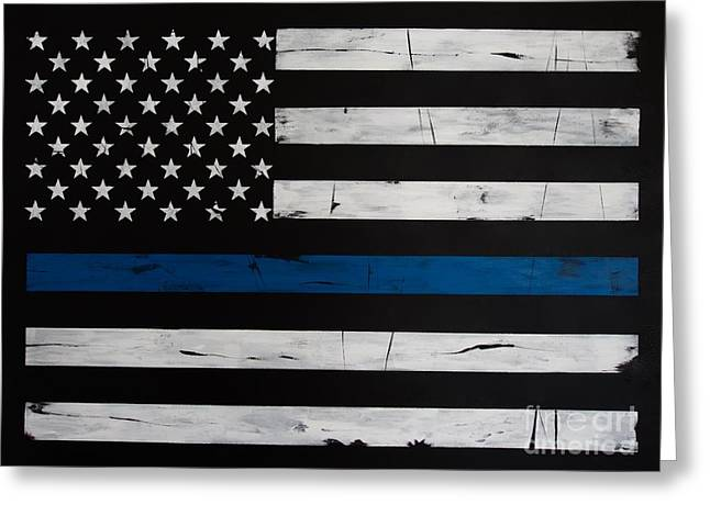 Thin Blue Line Greeting Card by Dominoe Gregor