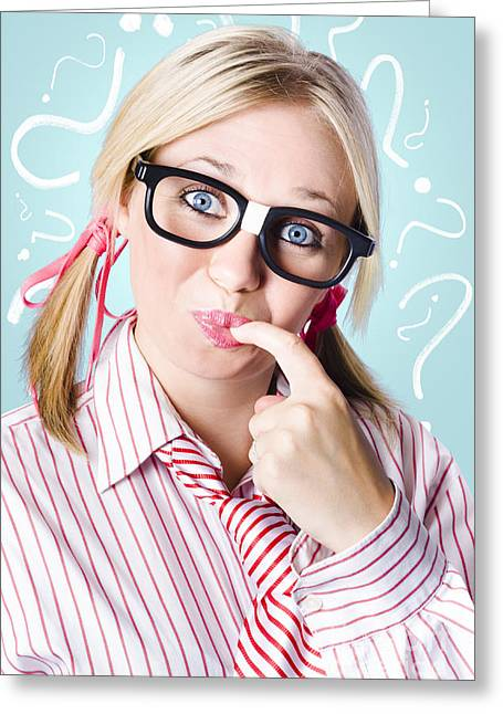 Think Smart To Solve Unanswered Questions Greeting Card by Jorgo Photography - Wall Art Gallery