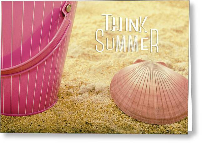 Beach Cottage Style Greeting Cards - Think Summer Pink Greeting Card by Marianne Campolongo