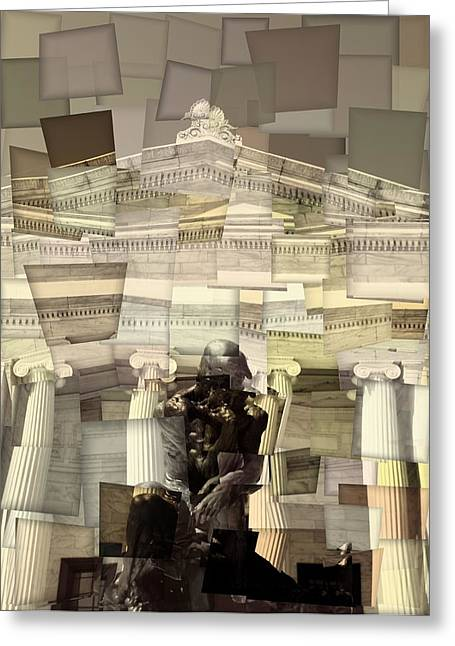Wade Mixed Media Greeting Cards - Thinker Cleveland Museum Of Art Cubism Greeting Card by Dan Sproul
