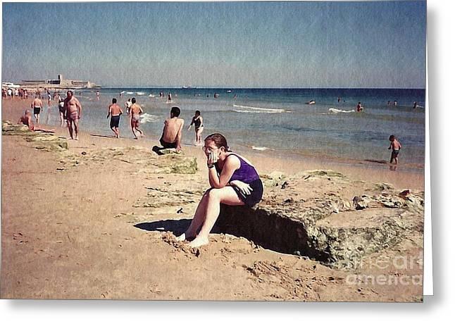 Seaside Digital Art Greeting Cards - Thinker on the Beach Greeting Card by Sarah Loft