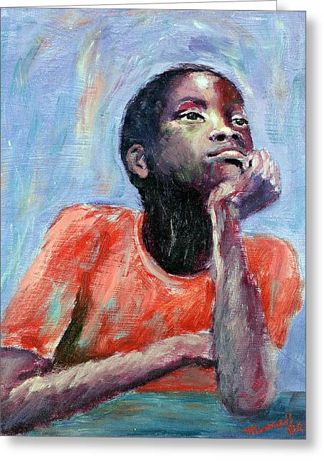 Lost In Thought Paintings Greeting Cards - Thinking Greeting Card by Carlton Murrell