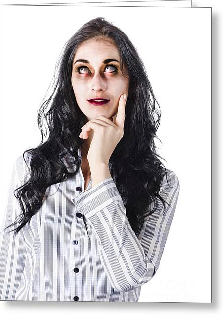 Thinking Dead Businesswoman Greeting Card by Jorgo Photography - Wall Art Gallery