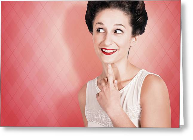 Thinking Fifties Pinup Girl With Old Hairstyle Greeting Card by Jorgo Photography - Wall Art Gallery