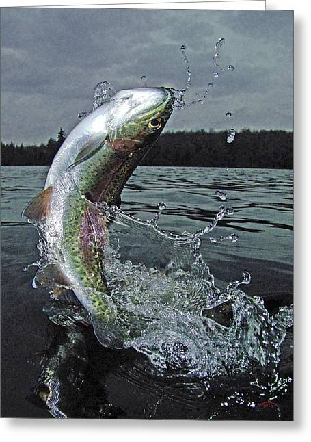 Trout Canvas Greeting Cards - Thinking Of You Greeting Card by Brian Pelkey