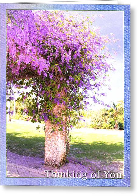 Appreciation Of Art Greeting Cards - Thinking Of You Purple Flowers Greeting Card by Daphne Sampson