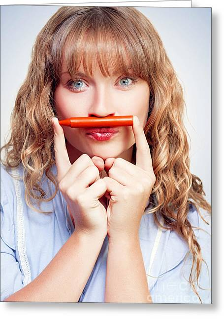 Improvisation Greeting Cards - Thinking student with orange crayon moustache Greeting Card by Ryan Jorgensen