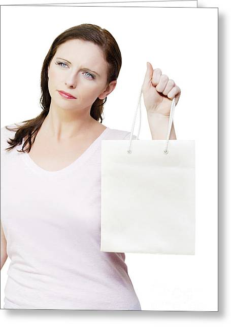 Purchase Greeting Cards - Thinking woman with copyspace retail shopping bag Greeting Card by Ryan Jorgensen