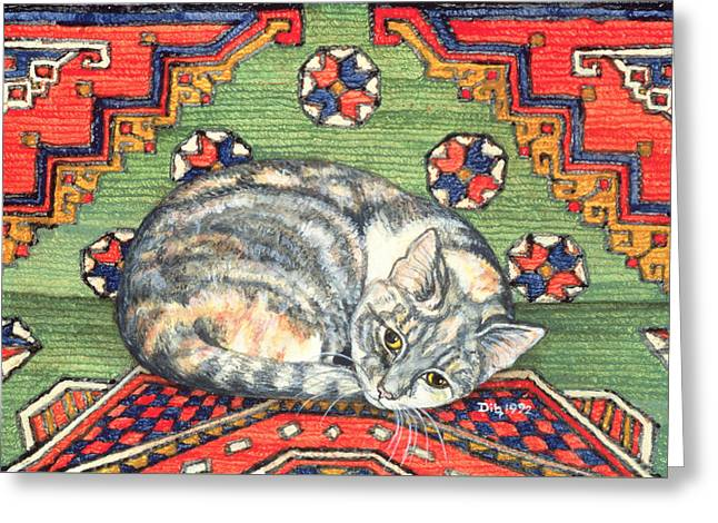 Collar Greeting Cards - Third Carpet Cat Patch Greeting Card by Ditz