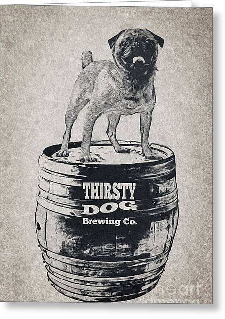 Puppies Digital Greeting Cards - Thirsty Dog Brewing Co. Keg Greeting Card by Edward Fielding