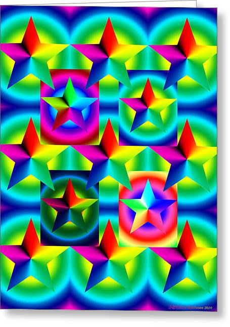 Chromatic Digital Greeting Cards - Thirteen Stars with Ring Gradients Greeting Card by Eric Edelman