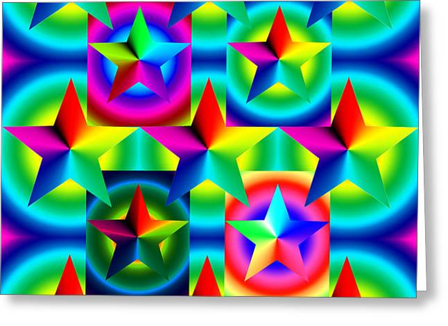 Thirteen Stars with Ring Gradients Greeting Card by Eric Edelman